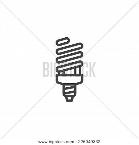 Fluorescent Lamp Line Icon, Outline Vector Sign, Linear Style Pictogram Isolated On White. Powersave