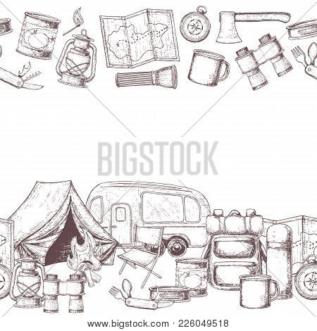 Seamless Horizontal Borders Of Travel Equipment. Accessories For Camping And Camps. Sketch Illustrat