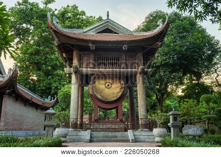 Square Building Hold A Big Drum At The Temple Of Literature In Hanoi. Constructed In 1070 To Honor C