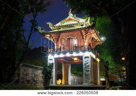 Khue Van Cac Pavilion In Second Courtyard At Temple Of Literature Or Van Mieu In Hanoi, Vietnam