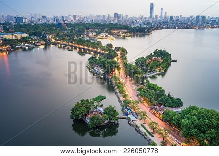 Aerial View Of Hanoi Skyline With Thanh Nien Street At West Lake. Hanoi Cityscape At Twilight