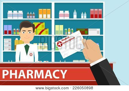 The Hand Holds A Medical Prescription. The Hand Gives A Medical Prescription To The Pharmacist. Flat