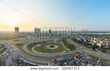 Aerial Skyline View Of Crossroads An Duong Vuong Street - Vo Chi Cong Street - Au Co Street To Nhat