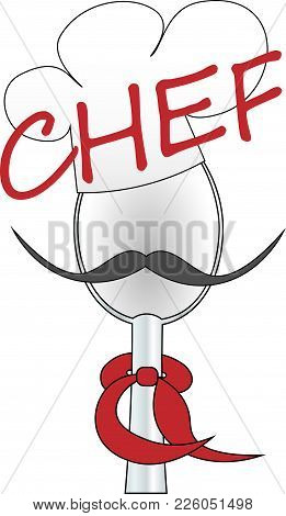 Spoon, Chef's Cap And Tie Chef Logo