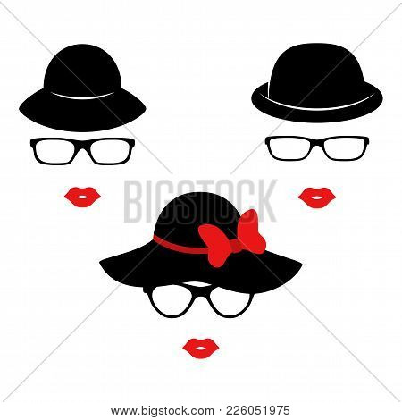Retro Ladies In The Black Elegant Hats. Woman Face. Boutique Concept. Vector