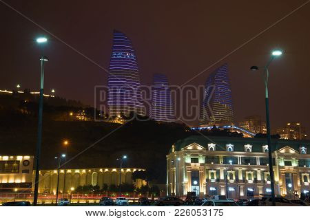 Baku, Azerbaijan - December 30, 2017: View Of The Flame Towers In The December Evening