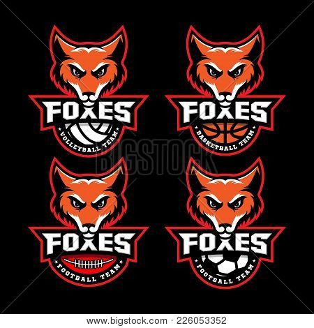 Four Fox Mascots For Sport Teams On A Black Background. Vector Illustration.