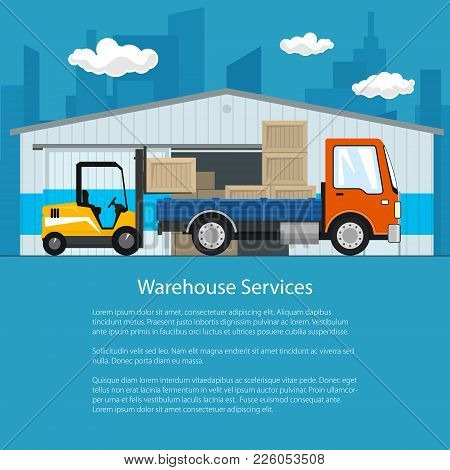 Flyer Of Warehouse And Delivery Services , Forklift Truck And Small Cargo Car With Boxes , Unloading
