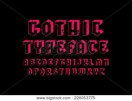 Decorative Sans Serif Bulk Font In Gothic Style. Hollow Letters With Rough Texture For Logo And Titl