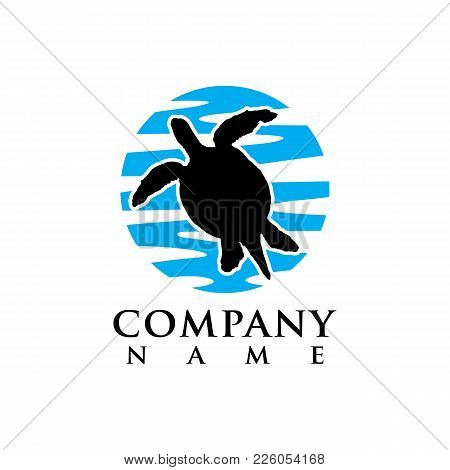 Turtle Silhouette Shape. Wild Animal Black Icon. Stock Vector Illustration. Vintage Hand Drawn Style