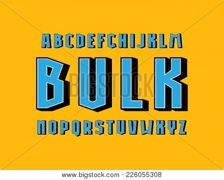 Geometric Sans Serif Bulk Font. Letters For Logo And Emblem Design. Color Print On Yellow Background