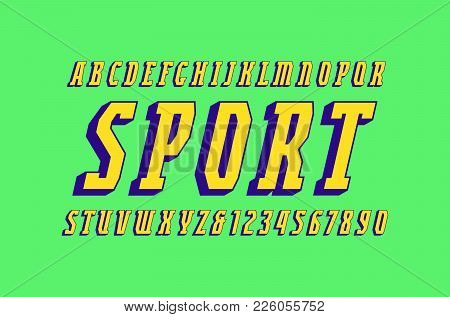 Italic Narrow Serif Bulk Font In Sport Style. Letters And Numbers For Logo And Headline Design. Colo