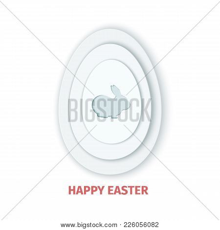 Happy Easter Greeting Card. A Paper Card In A Craft Paper Cut Style With Grey Egg Layers And Rabbit.