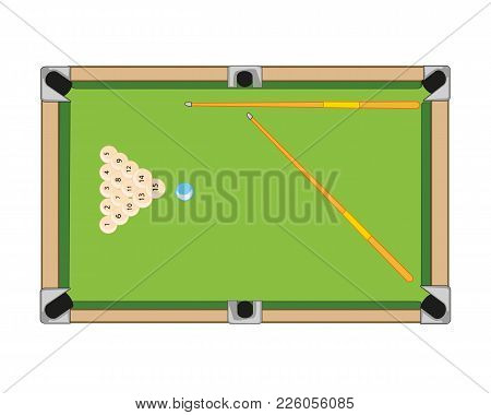 Billiard Table And Balls With Cue On White Background Is Insulated