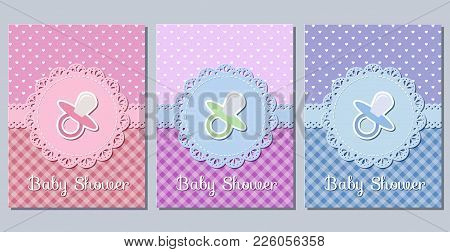 Baby Shower Cards. Cute Invitation For Baby Shower Party Lacy Frames. Vector Illustration. Set Greet