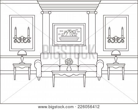 Living Room Interior. Linear Room. Vector. Outline Background In Classic Style. Coloring Page. Black