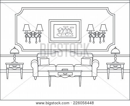 Room Interior. Vector. Linear Living Room. Coloring Page. Black White Sketch In Classic Style. Home