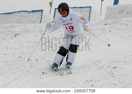 KRASNOE OZERO, LENINGRAD REGION, RUSSIA - FEBRUARY 1, 2018: Thea Wallberg of Sweden competes in dual mogul during Freestyle Europa Cup competitions. Wallberg takes 7th place