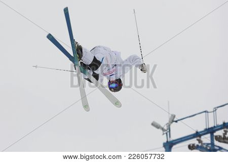 KRASNOE OZERO, LENINGRAD REGION, RUSSIA - FEBRUARY 1, 2018: Albin Holmgren of Sweden competes in dual mogul during Freestyle Europa Cup competitions. Holmgren won silver