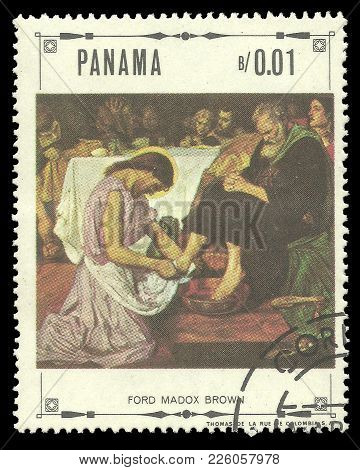 Panama - Circa 1968: Stamp Printed By Panama, Color Edition On Art, Shows Religious Paintings By For