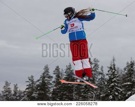 KRASNOE OZERO, LENINGRAD REGION, RUSSIA - FEBRUARY 1, 2018: Yelizaveta Bezgodova of Russia competes in dual mogul during Freestyle Europa Cup competitions. Bezgodova takes 4th place