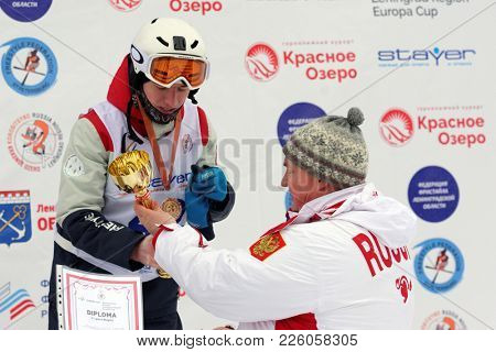KRASNOE OZERO, LENINGRAD REGION, RUSSIA - FEBRUARY 1, 2018: Nikita Novitckii of Russia got bronze medal during award ceremony of mogul competitions during Freestyle Europa Cup