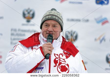 KRASNOE OZERO, LENINGRAD REGION, RUSSIA - FEBRUARY 1, 2018: Vladimir Sibirev, the vice president of Freestyle Federation of Russia, during Freestyle award ceremony of Freestyle Europa Cup