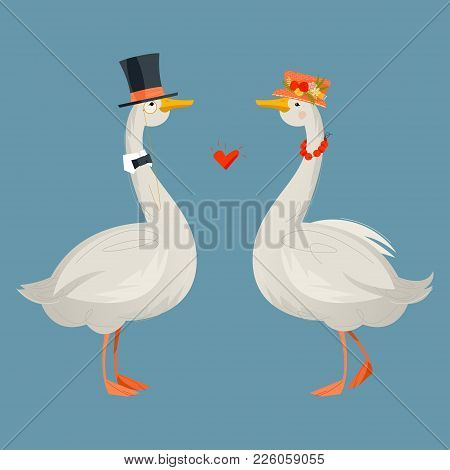 Gander Wearing A Top Hat And A Goose In A Hat With Flowers. Geese In Hats. Vector Illustration
