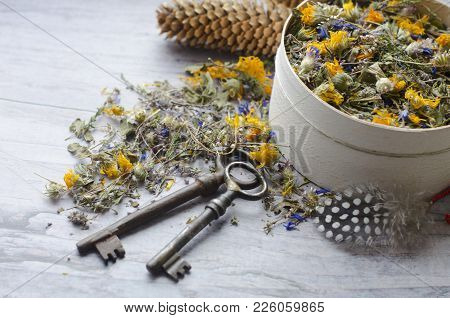 Herbal Tea With Ivan-tea, Cornflower, Calendula, Heather And Thyme. The Key To Health And Longevity.