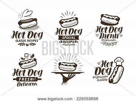 Hot Dog Logo Or Label. Fast Food, Takeaway Icon. Lettering Vector