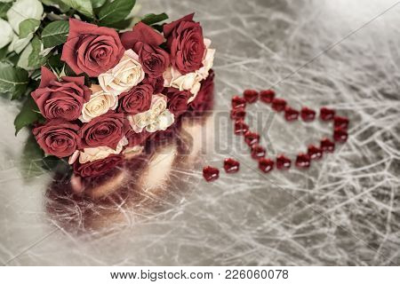 Bouquet Of Roses Of Two Colors For Beloved And Red Heart, Symbol Of Love, Valentine's Feast, Other R