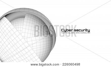 Cyber Security And Information Protection. Protect Mechanism, System Privacy Icon On White Backgroun