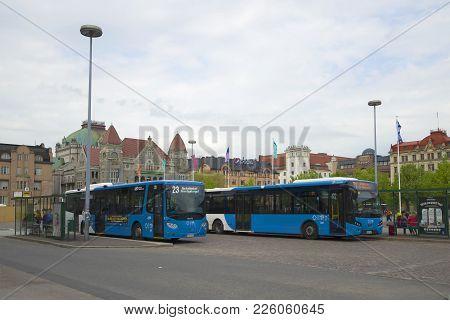 Helsinki, Finland - June 11, 2017: Bus Terminal For Public Transport Near The Railway Station