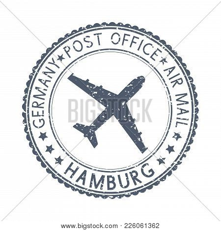 Black Stamp With Hamburg, Germany And Aircraft Symbol. Vector Illustration Isolated On White Backgro