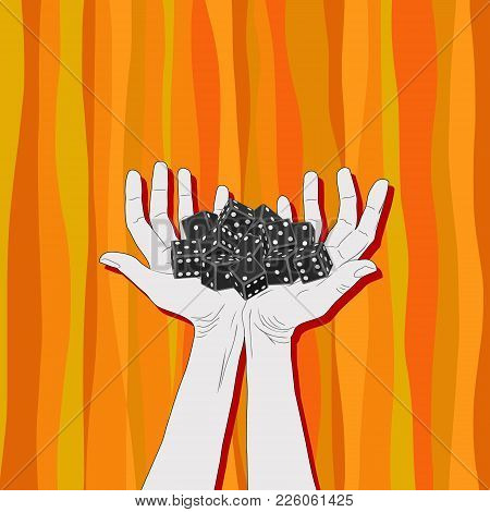 Black Gambling Dice Lying On Palms Of Hands On Abstract, Orange Background. Human Hands And Cubes Wi