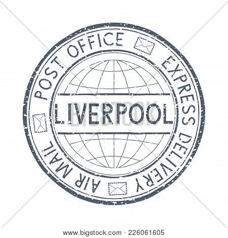 Postal Stamp With Liverpool, Great Britain Title. Round Black Postmark. Vector Illustration Isolated