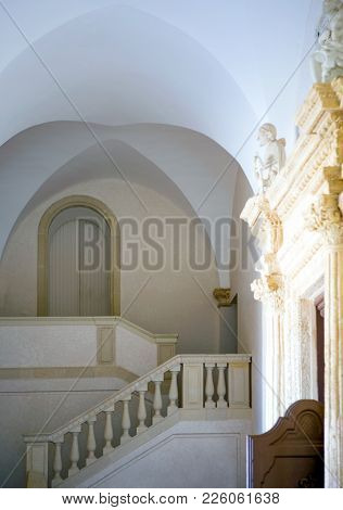 Santa Maria Di Leuca, Italy - August 27, 2006: The Entrance Of The  Sanctuary Of St. Mary Of Finibus