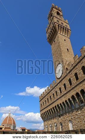 Florence Italy The Main Monument In The City Duomo And Old Palace Called Palazzo Vecchio In Italian