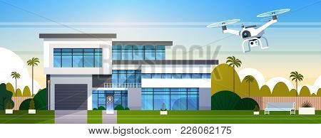 Modern Drone Fly Over House Building With Box, Air Transportation And Delivery Technology Concept Fl