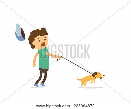 Little Boy Walking With His Naughty Puppy Vector Illustration. Isolated Cartoon Character