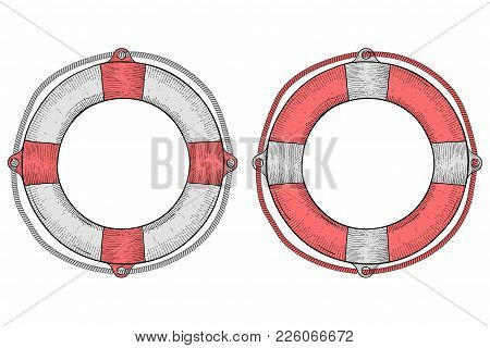 Life Buoy. Hand Drawn Sketch. Vector Illustration Isolated On White Background