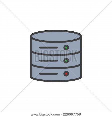 Data Center Filled Outline Icon, Line Vector Sign, Linear Colorful Pictogram Isolated On White. Data