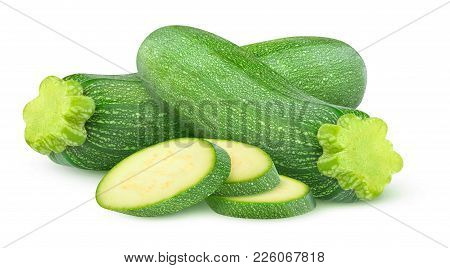 Isolated Cut Zucchini