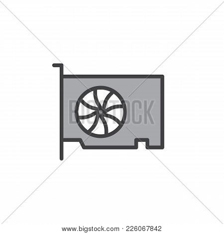 Video Gpu Card Filled Outline Icon, Line Vector Sign, Linear Colorful Pictogram Isolated On White. G