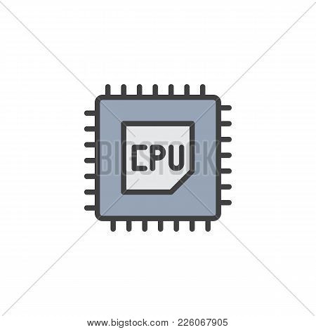 Cpu Processor Filled Outline Icon, Line Vector Sign, Linear Colorful Pictogram Isolated On White. Co