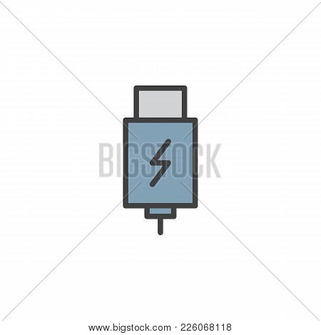 Usb Charging Plug Filled Outline Icon, Line Vector Sign, Linear Colorful Pictogram Isolated On White