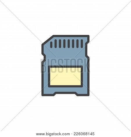 Sd Card Filled Outline Icon, Line Vector Sign, Linear Colorful Pictogram Isolated On White. Memory C