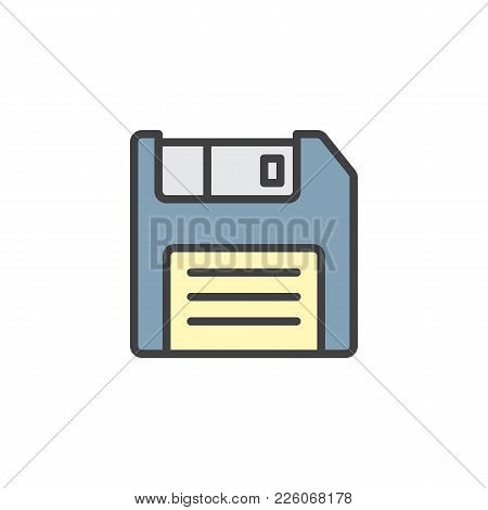 Floppy Disc Filled Outline Icon, Line Vector Sign, Linear Colorful Pictogram Isolated On White. Disk
