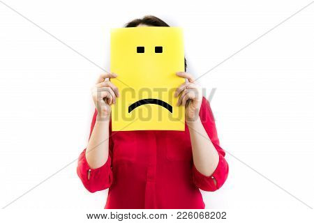 Put A Sad Pessimistic Face On, Sadness And Depressive Emotions Concept, Man Holding Picture Frame Wi