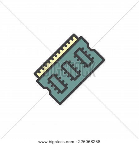 Ram Memory Filled Outline Icon, Line Vector Sign, Linear Colorful Pictogram Isolated On White. Rando